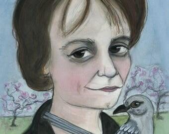 Harper Lee Literary Portrait, Writers Art Print (11x14) To Kill A Mockingbird Writer Portrait, Mocking Bird Art, Literature Art