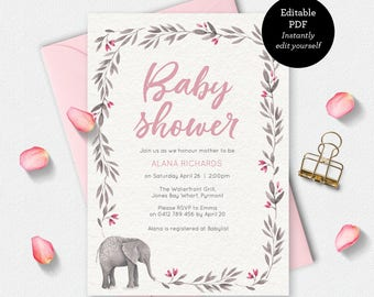 Girl Baby shower invitation, baby elephant Invitation, instant download, printable invitation, editable PDF invitation, invitation template