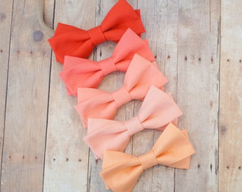 Classic Coral and Peach Fabric hairbow - Select your color and style - peach - ice peach - coral - soft coral - dark coral hair bow
