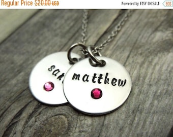 SALE Two Name necklace with birthstone crystals, personalized mothers necklace