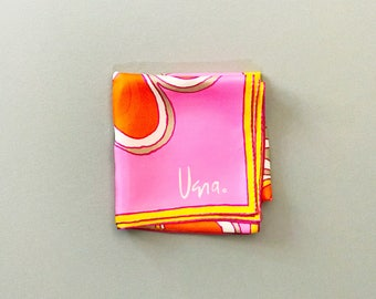 Vintage Vera Silk Scarf - Modern Abstracted Flower Pink / Orange / Yellow / Gray