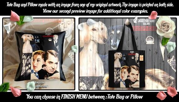 Saluki Pillow or Tote Bag/Saluki Art/Saluki Portrait/Dog Tote Bag/Dog Pillow/Dog Art/Custom Dog Portrait/Suspicion Movie Poster