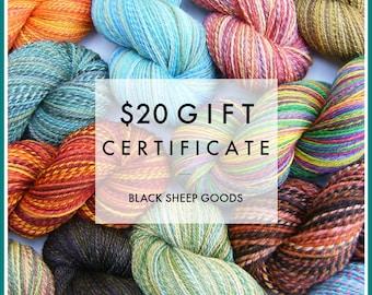 Gift Certificate - 20 Dollars - Handspun yarn gift certificate, gift for knitter, weaving yarn, Christmas gift for her