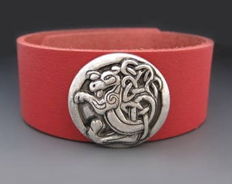 Leather Silver Dragon Bracelet / Celtic Red Dragon / Gifts for Teens / Gifts for Her / Khaleesi bracelet / Game of Thrones / Concho
