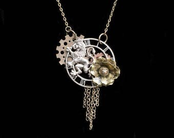 Steampunk Necklace- Lion Steampunk Necklace- Art Necklace- Steampunk Art- Assemblage Necklace- Steampunk Jewelry- Steampunk Costume
