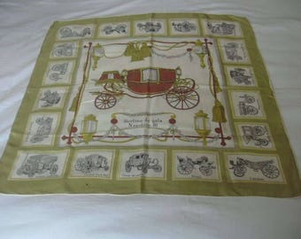 Berline de Gala Napolean III Antique Carriages French Historic Motif Silk Scarf