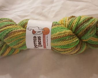 """Soft luxurious Pacormo alpaca, cormo, sparkle yarn, worsted weight yellow, green and brown """"corn husk"""" 200yds"""