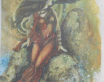 Celtic Goddess Raven Paper Decoupage Decopatch Collage Sheet