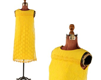 Vintage 1960's Mod Bright Yellow Crepe Sheer Daisy Floral Netting Mini Shift Party Dress S
