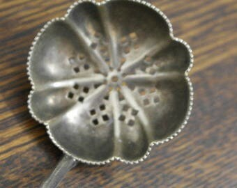 antique silver plate sugar sifter spoon