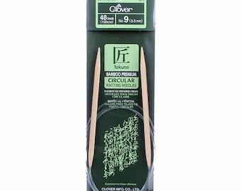 One Set of Clover Takumi Bamboo 48in Circular Knitting Needles Size 9, 5.5 mm,# 3016CV48-9