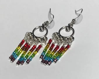 Gay Pride Chandelier Earrings Rainbow LGBT Jewelry