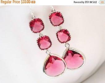 SALE Glass Earrings, Fuschia Earrings, Fuchsia Earrings, Silver Earrings, Hot Pink, Bridesmaid Jewelry, Bridesmaid Earrings, Bridesmaid Gift