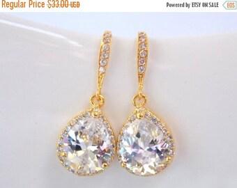 SALE Wedding Jewelry, Cubic Zirconia, Glass, Crystal Earrings, Gold, Bridesmaid Earrings, Bride Earrings, Bridal Earrings, Bridesmaid Gifts