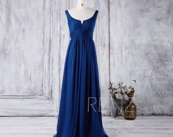 Royal Blue Bridesmaid Dress, Scoop Neck Chiffon Wedding Dress, A Line Prom Dress, Women Formal Dress, Low Back Evening Gown (J018)