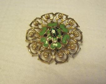 Vintage Gold Tone Green Enamel Faux Pearls Emerald Rhinestone  Center Brooch Pin