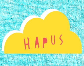 Welsh Hapus Text Happy Blue Yellow Cloud Digital Art Print A4