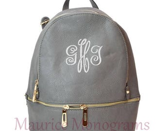 Personalized Gray Soft Textured Synthetic Leather Backpack Purse FREE Monogram
