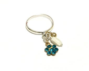 Turquoise Blues - Sterling Silver Charm Dangle Ring