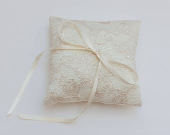 Ready to Ship SALE - Handmade Wedding Ring Bearer Pillow, gold and ivory lace, Lace Ring Pillow, Ornate, Classy, Timeless