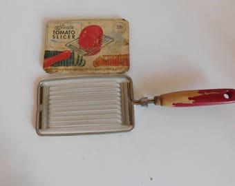 Vintage Ekco Tomato Slicer, Red Wood Handle