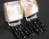 Sterling Silver Bezel Set Rutilated quartz Dangle Post Earrings with black spinel dangles, clear earrings, Square earrings (E116)