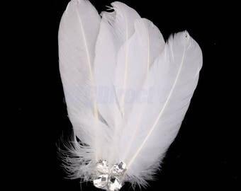 Vintage White Feather Bridal Rhinestone Fascinator Hair clip