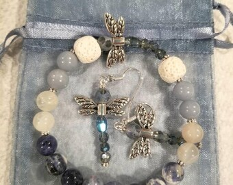 Sodalite and Angelite Diffuser Bracelet and Earrings Set