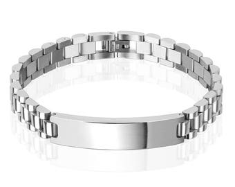 Custom Engraved Fancy Link ID Bracelet Personalized 8.25 Inch Solid Stainless Steel ID Bracelet  - Hand Engraved
