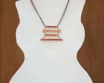 Custom copper necklace - Your favourite quote, four bar