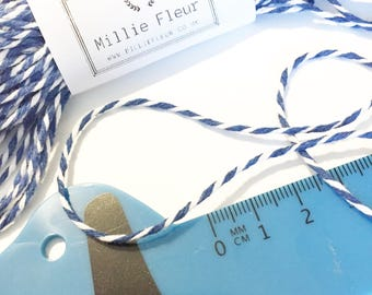 Royal Blue Bakers Twine, blue, 10m, 20m Thick Striped Bakers Twine, 2 colour string, 12 ply, 2mm thick, Parcel, party, gift wrap, crafts,