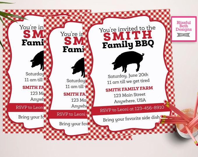 Family BBQ Invitation Personalized Family BBQ Printable Invitation, Family Reunion Invite, Reunion Invite, BBQ, Family Reunion Invitation