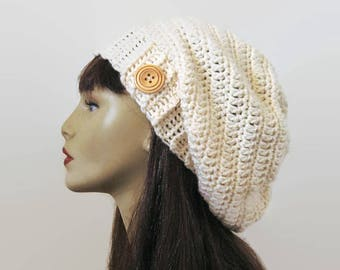 Cream Crochet Slouch Hat with button Slouchy Beanie Off White knit Slouch Hat Beige Crochet Hat Cream Cap Cream Slouchy Hat Cream Slouch Tam