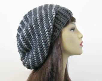Crochet Slouchy Hat Gray Knit Beanie Dark Gray Striped Slouchy Hat Charcoal Gray Beret Gray Slouch Tam Gray Crochet Hat Gray Beanie Knit Tam