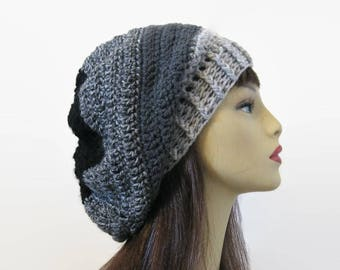 Crochet Slouchy Hat Slouch Charcoal Beanie Gray Striped Hat Charcoal Slouchy Hat Dark Gray Beret Dark Gray Slouch Cap Gray Knit Beanie