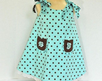Girls' Blue Polka Dot Dress - Size 1 Toddler Dress - Blue and Brown Polka Dot - Summer Children's  Clothing - OOAK Sleeveless Dress - Party