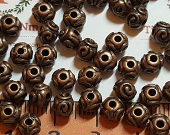 36 pcs per pack 5mm Bali Style Spacer Bead Antique Copper Finish Lead Free Pewter.