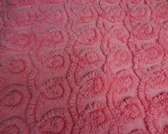 "Bright PINK Chenille CURLIQUES Vintage Heavyweight Chenille Bedspread Fabric - 12+"" X 26"" - #2"