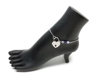BDSM Locking Anklet, Purple Locking Slave anklet, Purple Slave Anklet, BDSM Anklet Heart Lock, BDSM Jewelry, Purple Agate Delicate Anklet