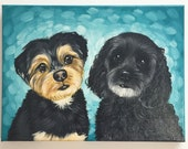 "9x12x0.75"" Custom Dog/Pet Portrait - Two Pet, Paint Stroke Gradient Background, acrylic Painting on Canvas Memorial 2"