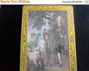 On Sale Vintage Tin Victorian Lover Scene 1980's Collectible Home Storage Organization Solutions