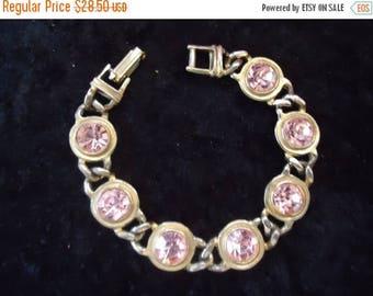 Now On Sale Vintage Pink Rhinestone Bracelet Hollywood Regency 1950's Mid Century Mad Men Mod Retro Collectible Jewelry Martini Mermaid