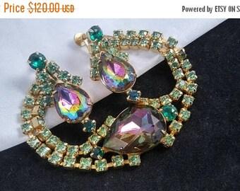 On Sale Vintage Rhinestone Bracelet Earrings Set Demi Parure Blue, Pink & Greens Watermelon Rivoli 1950's Collectible Jewelry Mad Men Mod
