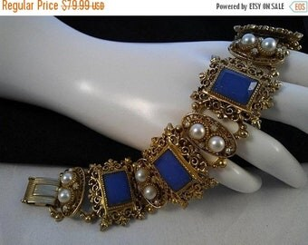 ON SALE Gorgeous Vintage Chunky Faux Pearl & Blue Glass Ornate Bracelet,  1950's 1960's Collectible High End Jewelry