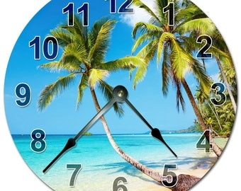 "BEACH PALM TREES Clock - Extra Large 15.5"" to 16"" Wall Clock - 2083-16"