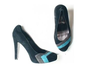 Next Black Blue Suede Leather 80s Retro Style Court Shoes UK 6 US 8.5 EU 39