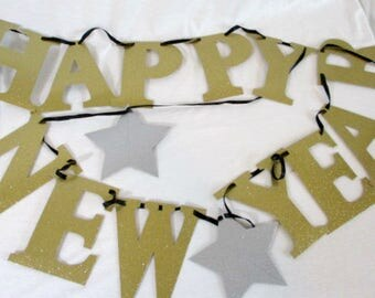 Happy New Year Banner Gold Glitter Banner New Year's Eve Banner 2018 Banner Letter Banner New Years Banner New Years Eve Banner Star Garland