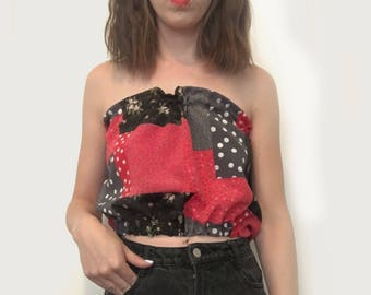 Polka Dot Floral Mix Print crop top 90s summer inspired one size
