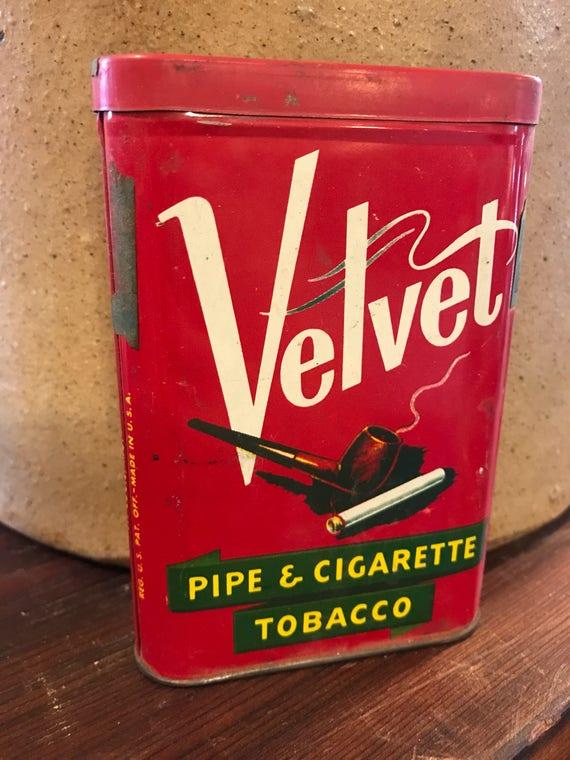 Velvet Pipe & Cigarette Tobacco pocket Tin St Louis Mo