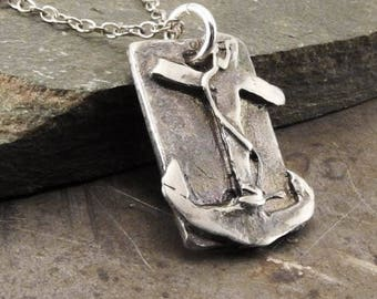 Faith Hope Love Anchor Sterling Silver Pendant Necklace Handmade Jewelry for Men or Women